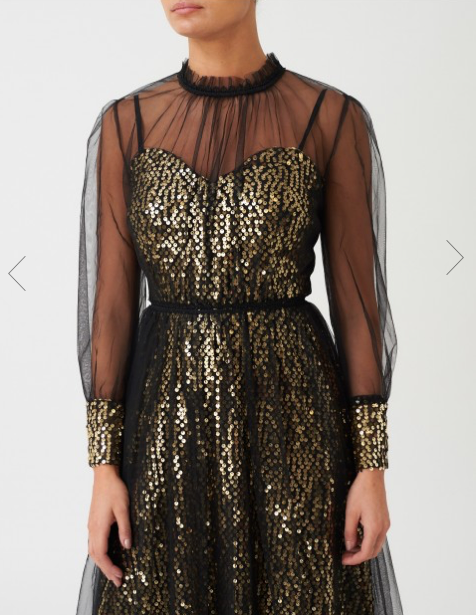 Black and Gold Sequin Mesh Long Sleeve Midi Dress