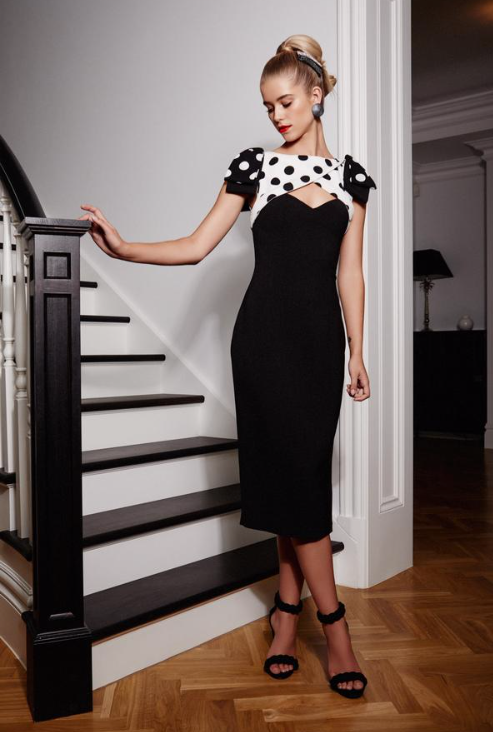 Audrey Dress - Black Polkadot