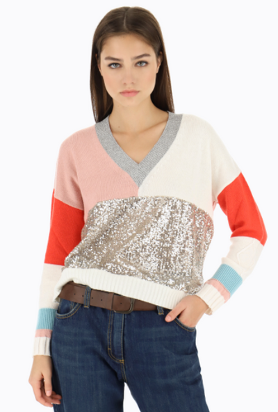 Colourblock Sweater with Sequins
