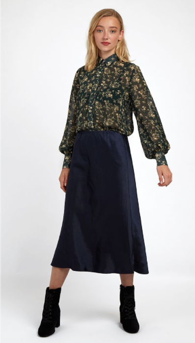 Tehani Satin Bias Cut Skirt - Navy