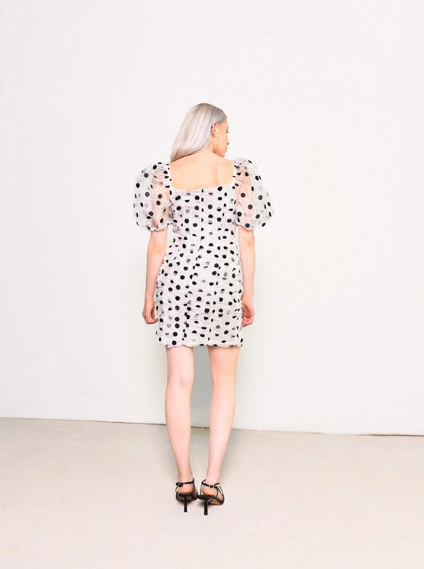 White Black Spot Organza Dress