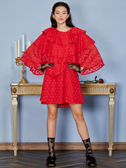Ready Rouge Tiered Mini Dress - Carmine Red