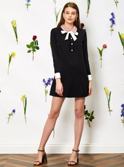 Jewel Floret Mini Shift Dress - Black & Pink