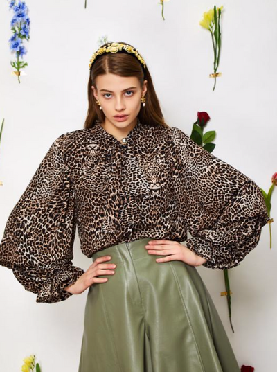 Wild Cameo Bow Blouse - Leopard