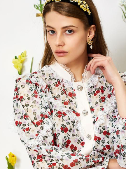 Darling Bud Lace Shirt - Floral