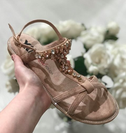 Nude Microfiber Sandals with Rose Gold Detail