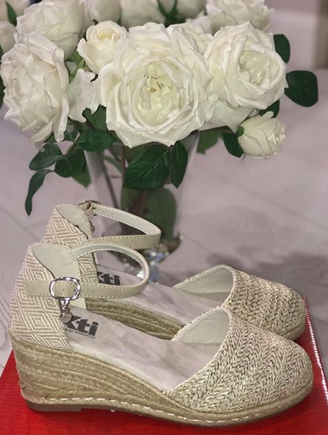 Cream PU Wedge Sandals with Gold Detail