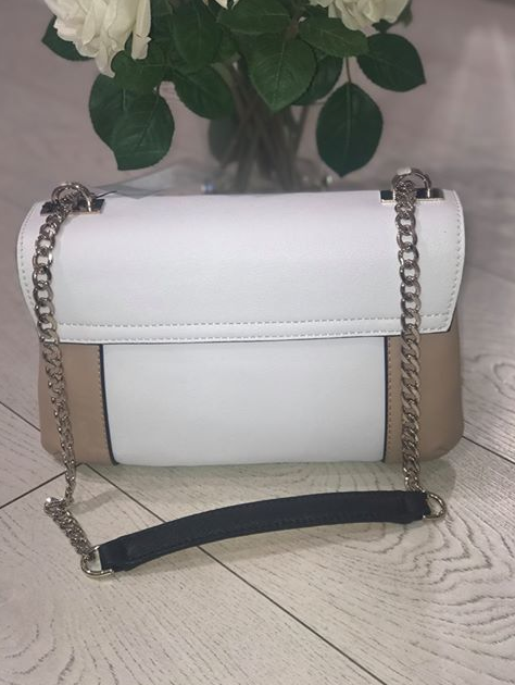 Guess Holly Convertible Crossbody Flap Bag - White Multi