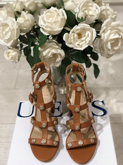 Guess Magale Leather Sandal - Dark Natural
