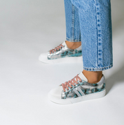 Blue and Silver Sneaker with Python Effect