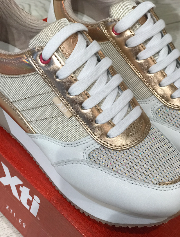 White and Rose Gold Sneakers with Glitter Detail