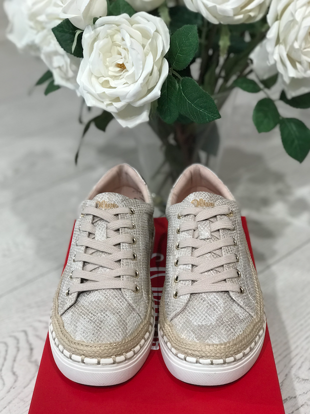 Snake Print Sneakers - Champagne