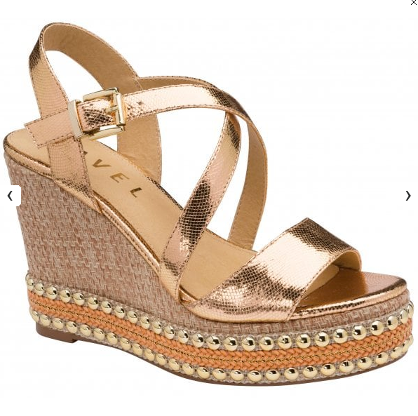 Hexam Rose Gold Metallic Wedges