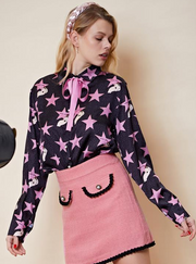 Hollywood Bow Shirt - Black & Pink