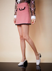 Fame Walk Tweed Skirt - Pink & Black