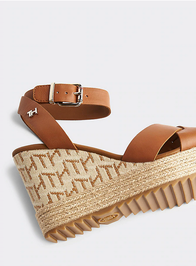 Tommy Hilfiger Raffia High Wedge Sandal - Summer Cognac