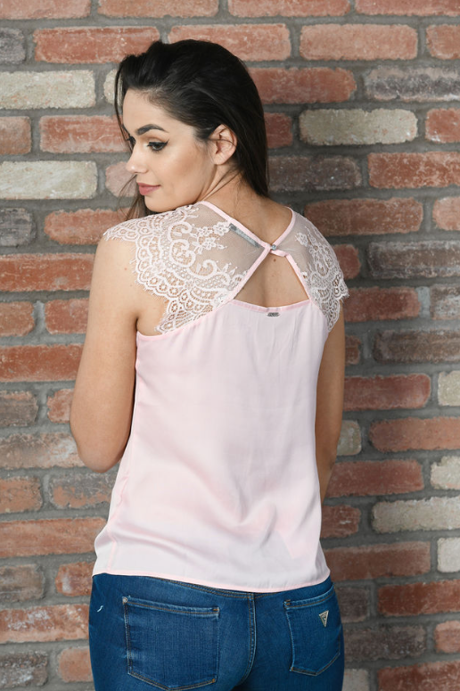 Guess Short Sleeve Ilia Top - Pink