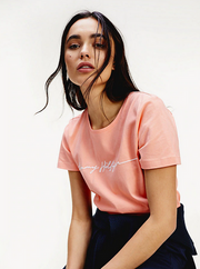 Tommy Hilfiger Annie Regular C-Neck Top - Island Coral