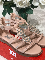 Nude PU Sandals with Silver Detail