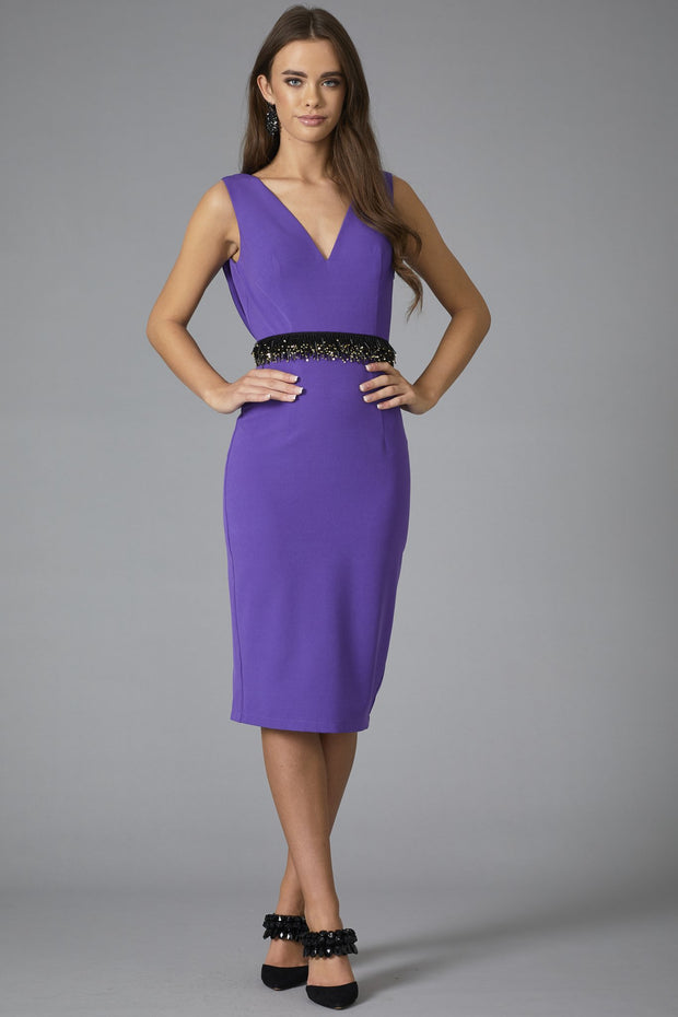 Solar Cowl Back Dress - Royal Purple