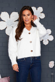 Aubrey Fluffy Cardigan - Cream