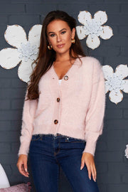 Aubrey Fluffy Cardigan -  Blush