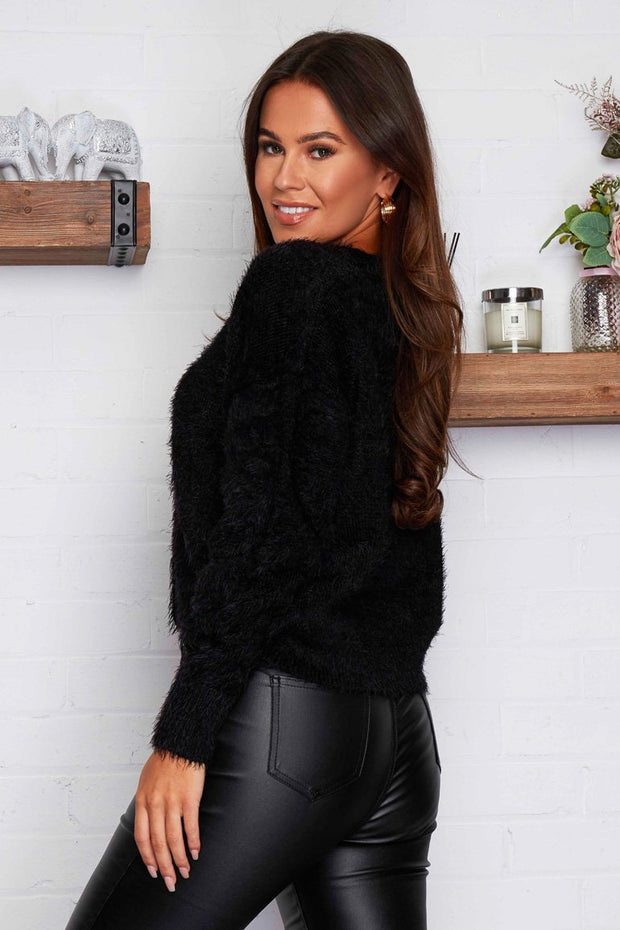 Aubrey Fluffy Cardigan - Black