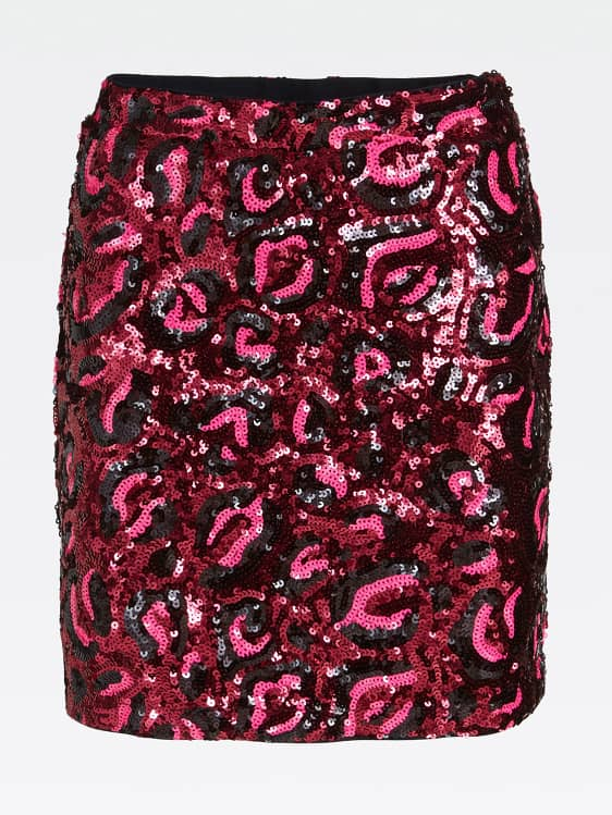Guess Lina Skirt - Leopard Sequins Burgundy