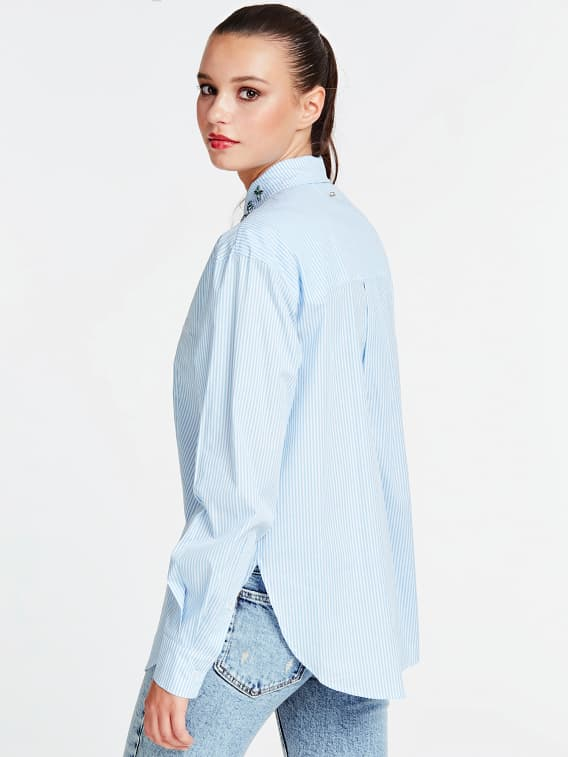 Guess Isa Shirt - White/Light Blue