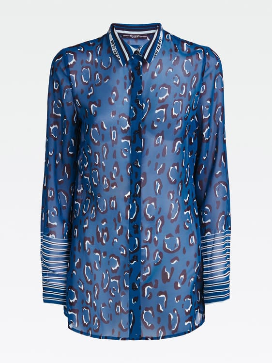 Guess Long Sleeve Clouis Shirt - Leopard And Stripe Blue