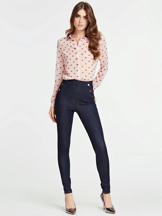 Guess Long Sleeve Leslie Shirt - Out Of Focus Dots