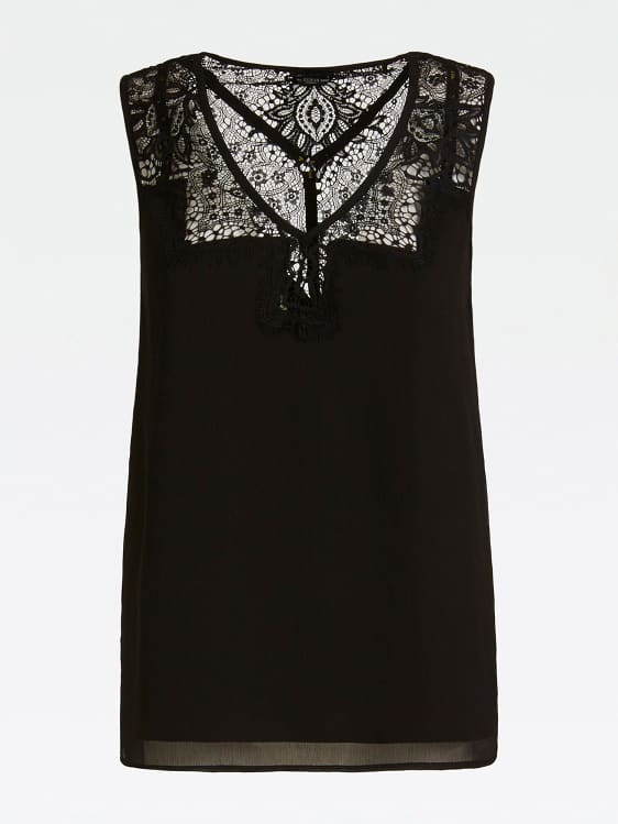 Guess Mariam Lace Insert Cami Top - Jet Black