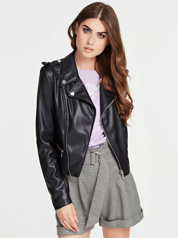 Guess Khloe Faux Leather Jacket - Jet Black