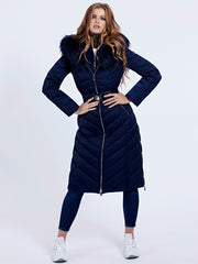 Guess Sofia Long Down Jacket - Blue Jam