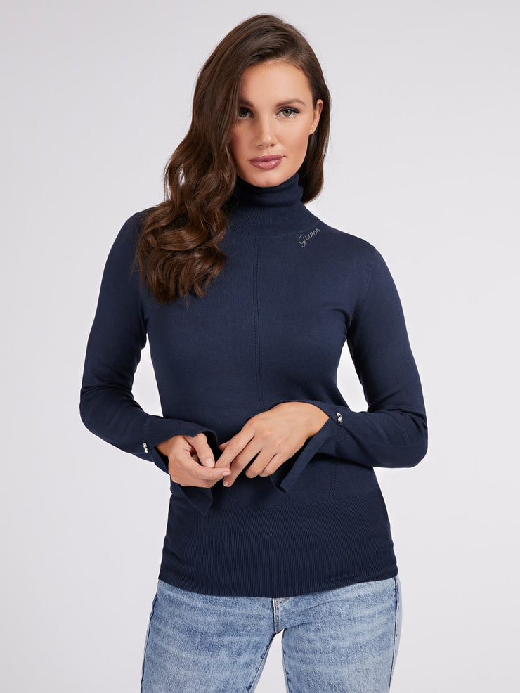 Guess Alba Turtle Neck Sweater - Navy Blue