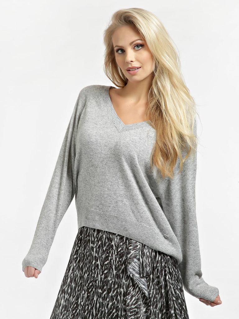 Guess Helena V-Neck Sweater - Light Melange Grey