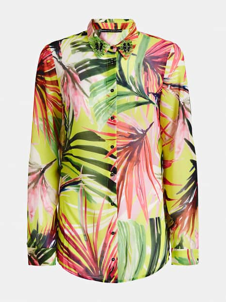 Guess Clouis Shirt - Pop Pineapple Lime