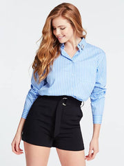 Guess Long Sleeve Mindy Shirt - Light Blue and White