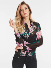 Guess Clouis Shirt - Peony Flowers Black