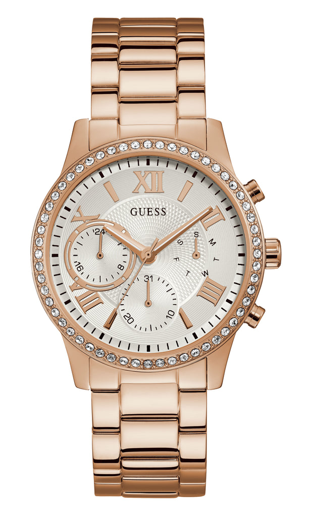 Guess Solar Ladies Dress Multi Rose Gold Watch