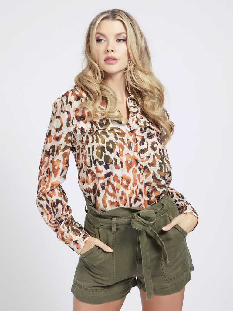 Guess Mona Shirt - Animal Dream Natural