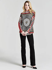 Guess Long Sleeve Clouis Shirt - Black/Red Multi