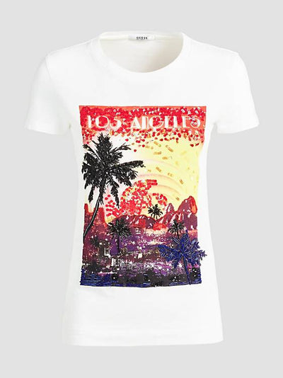 Guess Los Angeles Printed Front Tee - White Multi