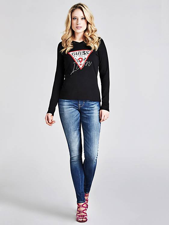 Guess Long Sleeve V Neck Icon Tee - Jet Black
