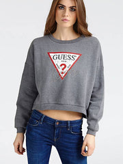 Guess Icon Logo Fleece Sweater - Grey