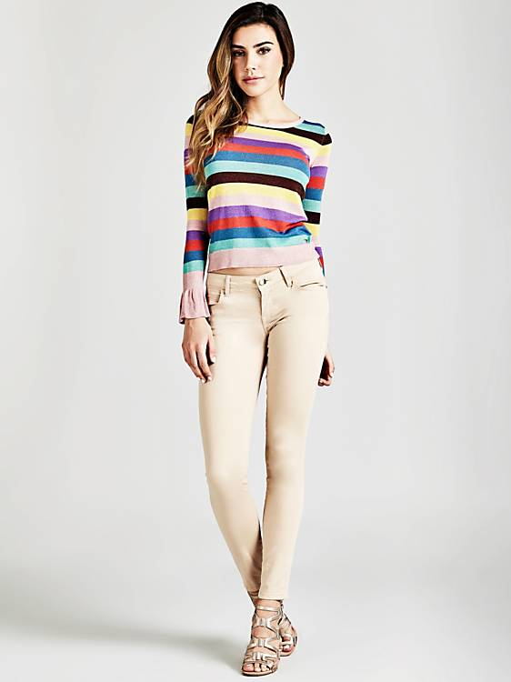 Guess Long Sleeve Round Neck Diletta Striped Sweater