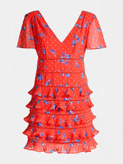 Guess Larissa Dress - Spring Roses Red Com