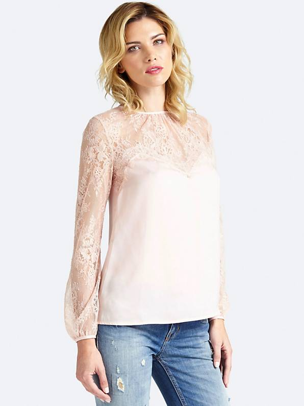 Guess Dejka Lace Blouse - Pale Sand