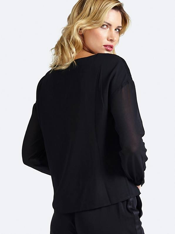 Guess Long Sleeve Yasmine Top - Jet Black