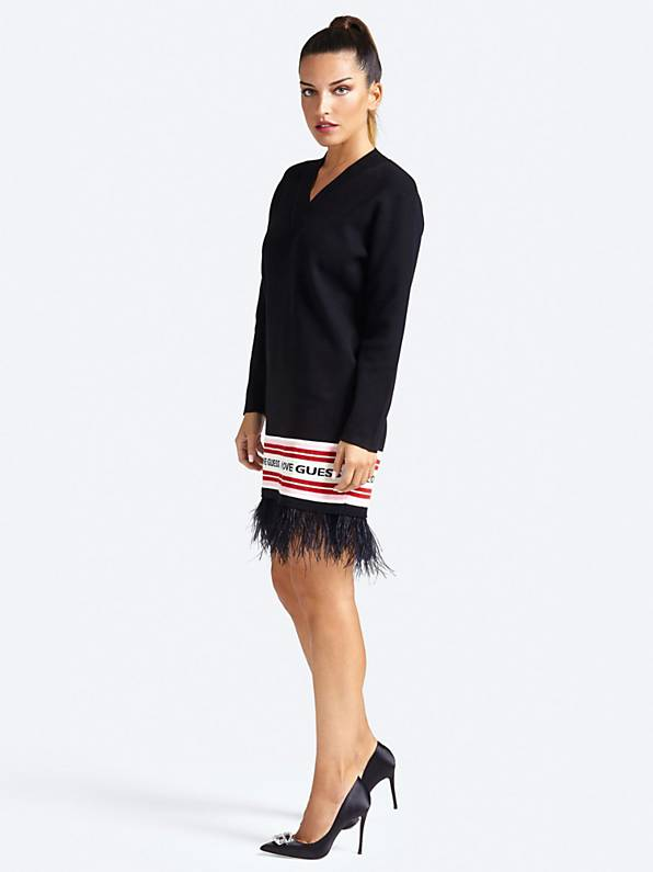 Guess Long Sleeve V Neck Sveva Sweater Dress - Jet Black